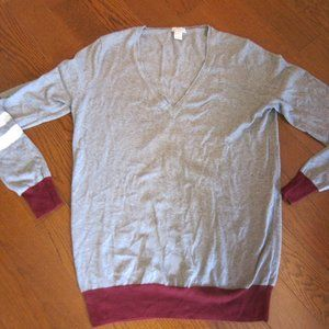 J.Crew Women's Small V-Neck Sweater - Grey/Maroon